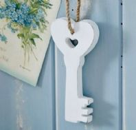 White Wooden Hanging Key To Heart